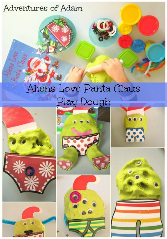 We are huge fans of the Aliens Love Underpants series. Choosing our favourite Christmas story was easy. We created Aliens Love Panta Claus Play Dough.