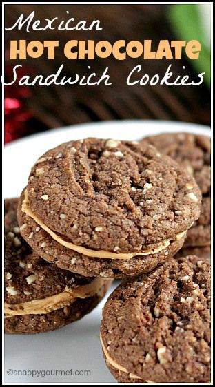 Mexican Chocolate Sandwich Cookies with dark chocolate, cinnamon, almonds, ancho chile, and cajeta. An easy homemade holiday and Christmas cookie recipe. SnappyGourmet.com