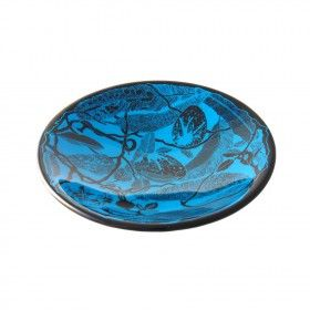 This vibrant blue bowl has a stunning black print created from a hand drawn image of a nest. Hand made by Pippa Stacey at miratis.com