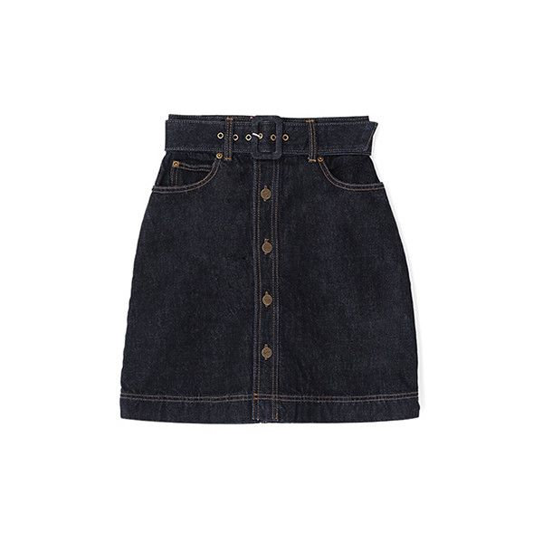 デニムスカート(ロング丈) (2.105 UYU) ❤ liked on Polyvore featuring skirts, bottoms and bubble skirt