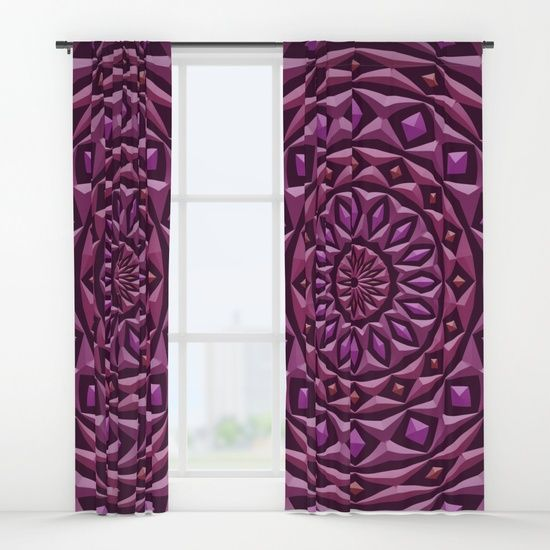 Carved in Stone Mandala Curtains by Terrella.  A mandala made of rings with diamond highlights, each has a stone texture and 3d appearance.