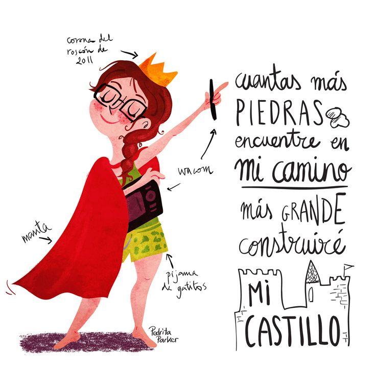 """""""Cuantas más piedras encuentre en el camino, más grande construiré mi castillo"""" #illustration #retro #sasek by Pedrita Parker"""