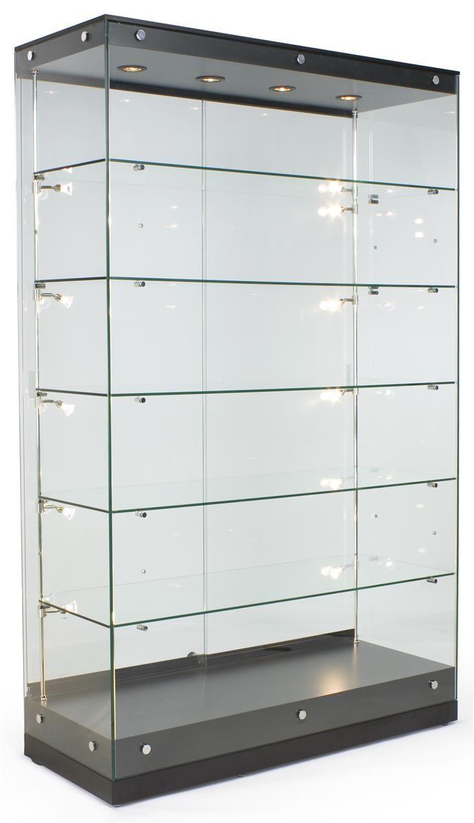 """48"""" Trophy Display Case w/ Frameless Design, Adjustable Shelves, Sliding Door - Black"""