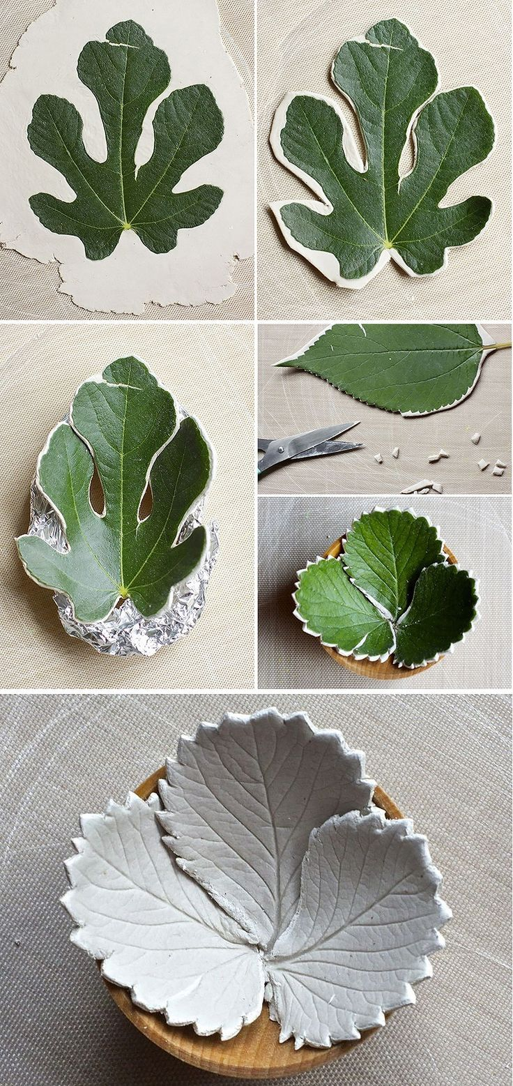Make diy leaf bowls from air dry clay.