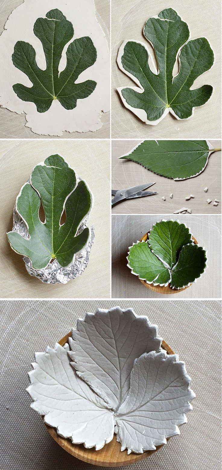 Make diy leaf bowls from air dry clay                                                                                                                                                                                 Mais