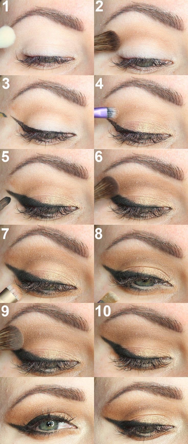 Tarte Tarteist Pro Palette Cat Eye Tutorial - an easy step by step tutorial with the new tarte palette to give you perfect winged liner on hooded eyes! #wingedlinerhacks #wingedlinereasy