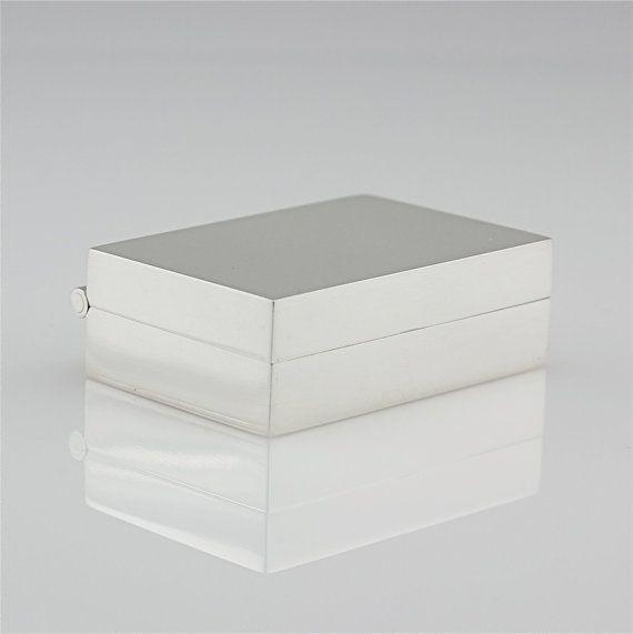 Elegant Sterling Silver Pill Box - Simple Modern Box - Presentation Box - Hinged Treasure Box - Sleek Contemporary Metalwork