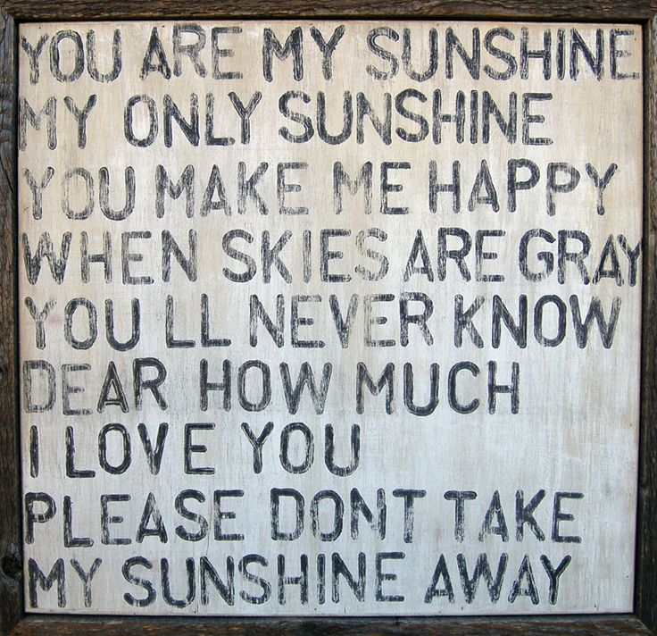 """So sweet! Love this """"You Are My Sunshine"""" artwork."""