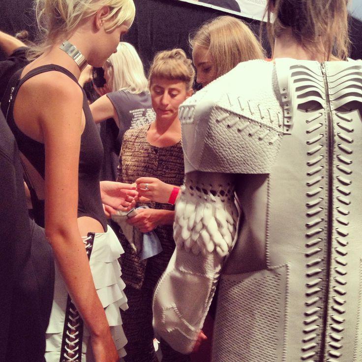 Anne Sofie Madsen SS14 Backstage Copenhagen Fashion Week, close up to detail