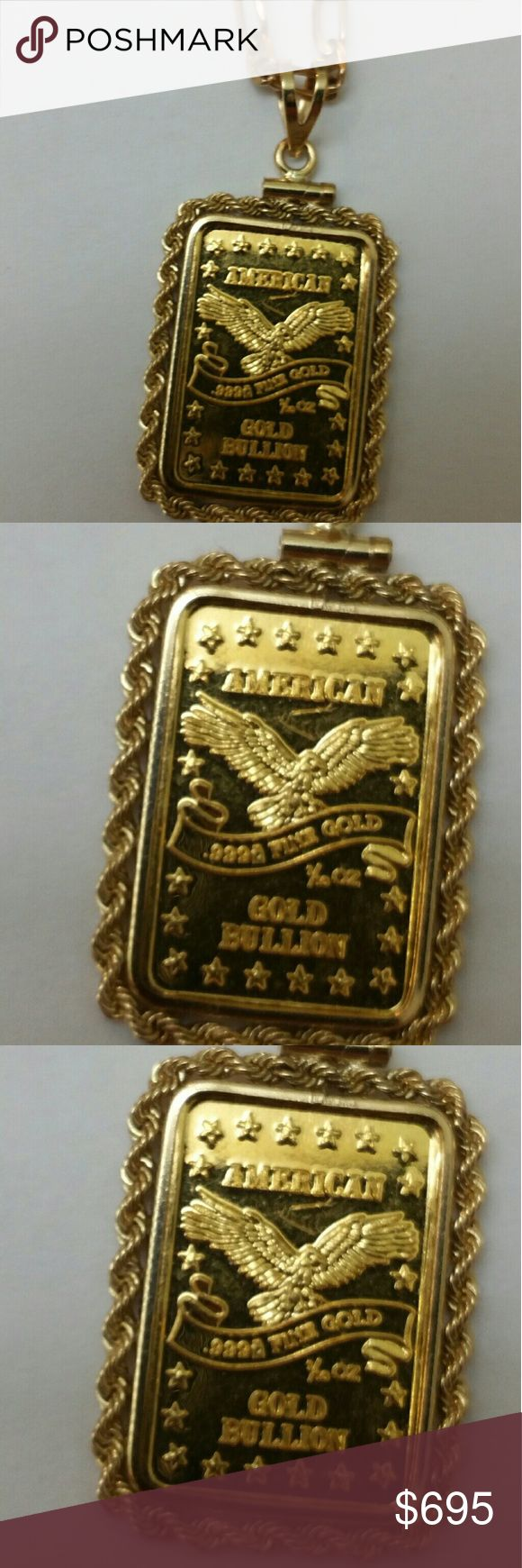 American 1/10oz .999 pure gold bullion pendant 24k  .999 pure gold American bullion plus 14k yellow gold marked 14k frame. Weight 5.08gr. Necklace not included. Jewelry Necklaces