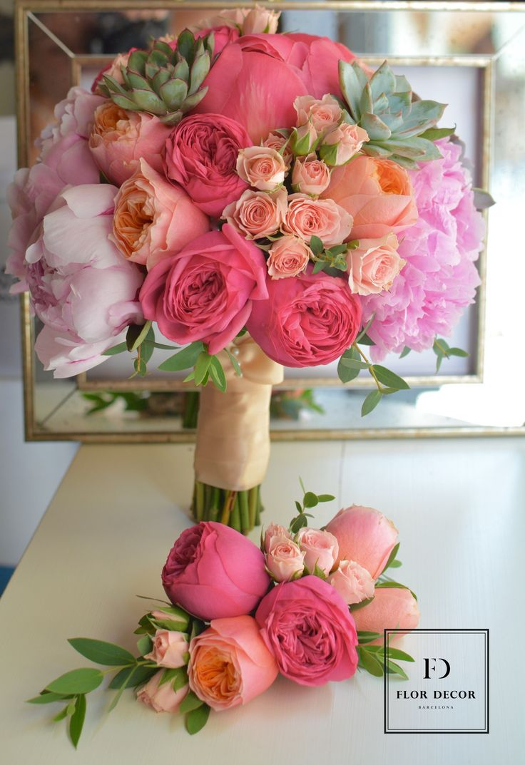 bright wedding bouquet of peonies garden roses spray roses and succulents - Flor Decor