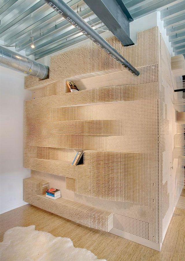 """Peg Wall Bookcase"" by Elizabeth Whittaker of Merge Architects.#fabrication #wood"