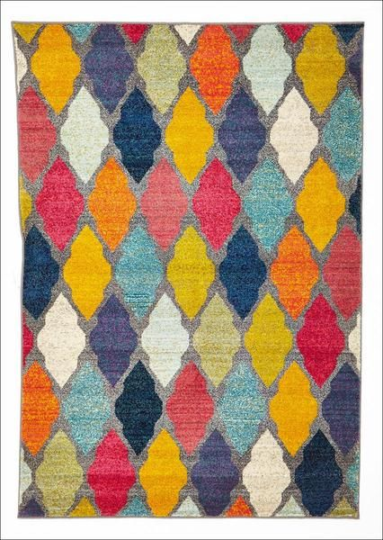 This beautiful modern rug offers a vibrant splash of colour, combined in a stylish trellis pattern: