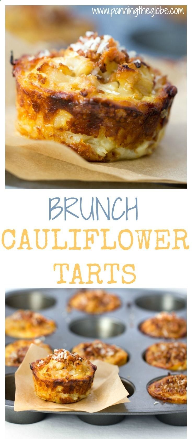 These cauliflower tarts are amazing little flavor bombs: potato-gruyere crusts filled with onions, garlic, cauliflower, eggs, cheese, and spices, topped with bacon and parmesan. A perfect recipe for a special brunch, with an easy vegetarian adaptation.