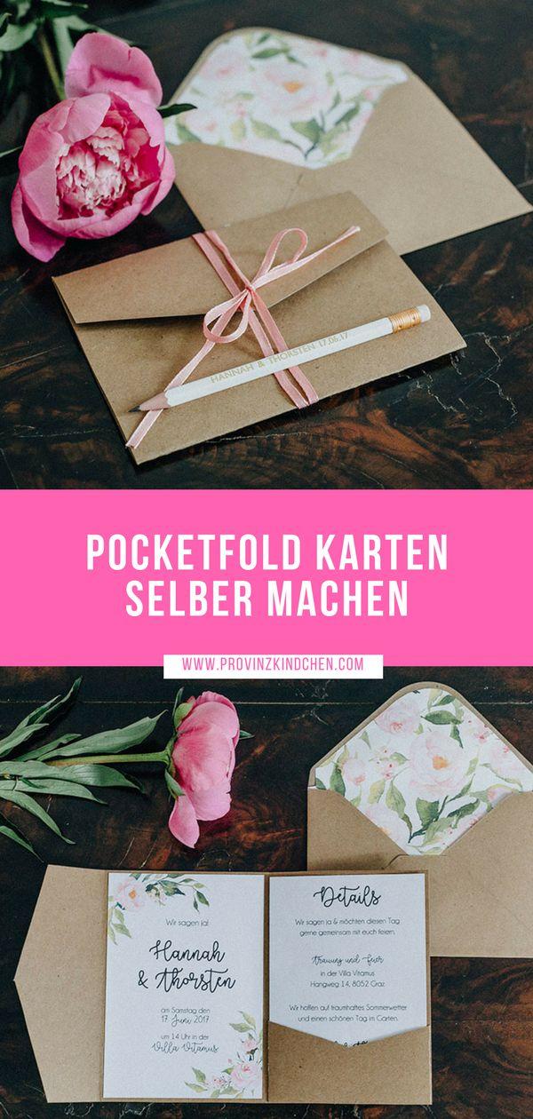 Unsere Hochzeit: Pocketfold Karten selber basteln + Video-Tutorial