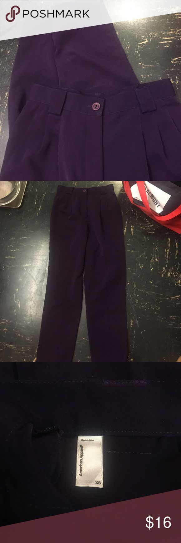Purple high waisted American Apparel trousers Purple high waisted AA pleated trousers, size XS, worn once. In perfect shape and super flattering fit American Apparel Pants Trousers