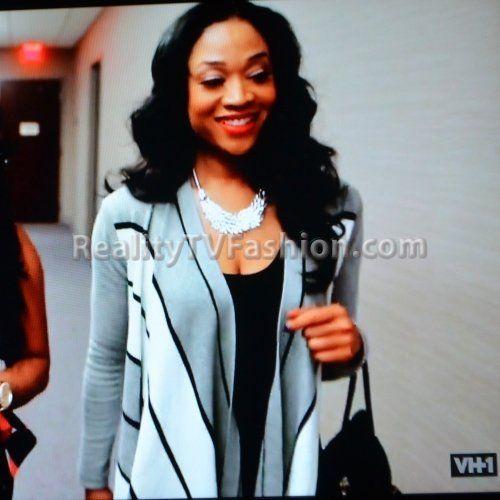 "Mimi Faust's Gray, Black, & White Karen Millen Draped Front Striped Cardigan on ""Love & Hip Hop Atlanta"""