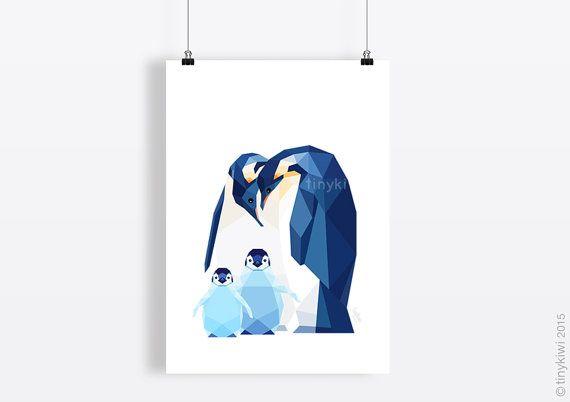 Penguin Kunst Geometric Print Geburtsanzeige von tinykiwiPrints