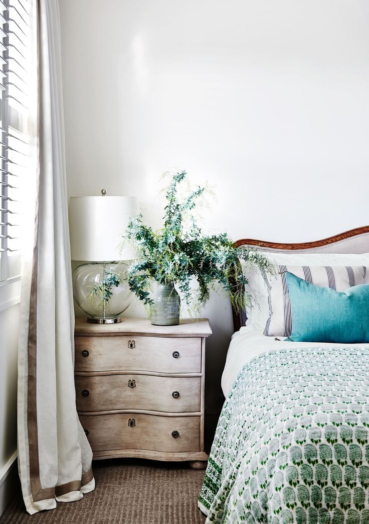 Bedroom from Hamptons-style holiday home on Victoria's Mornington Peninsula. Photography: Lisa Cohen | Styling: Adelaide Bragg