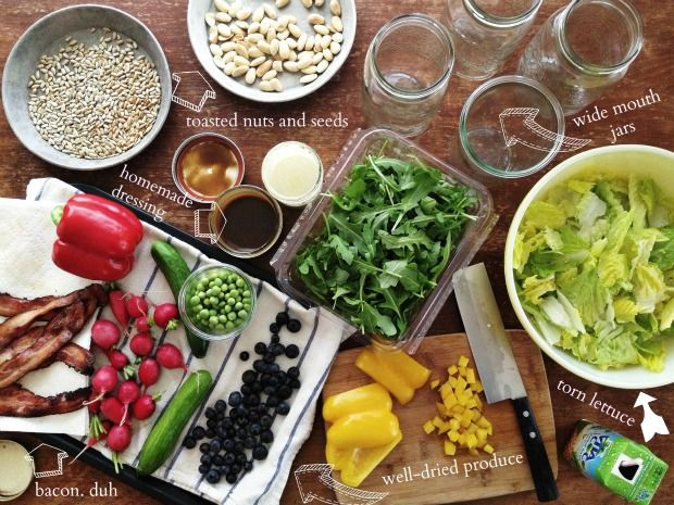 Tips for a week of salads in jars: ideal ingredients, expert packing tips, and practical suggestions for use. #salad #lunch