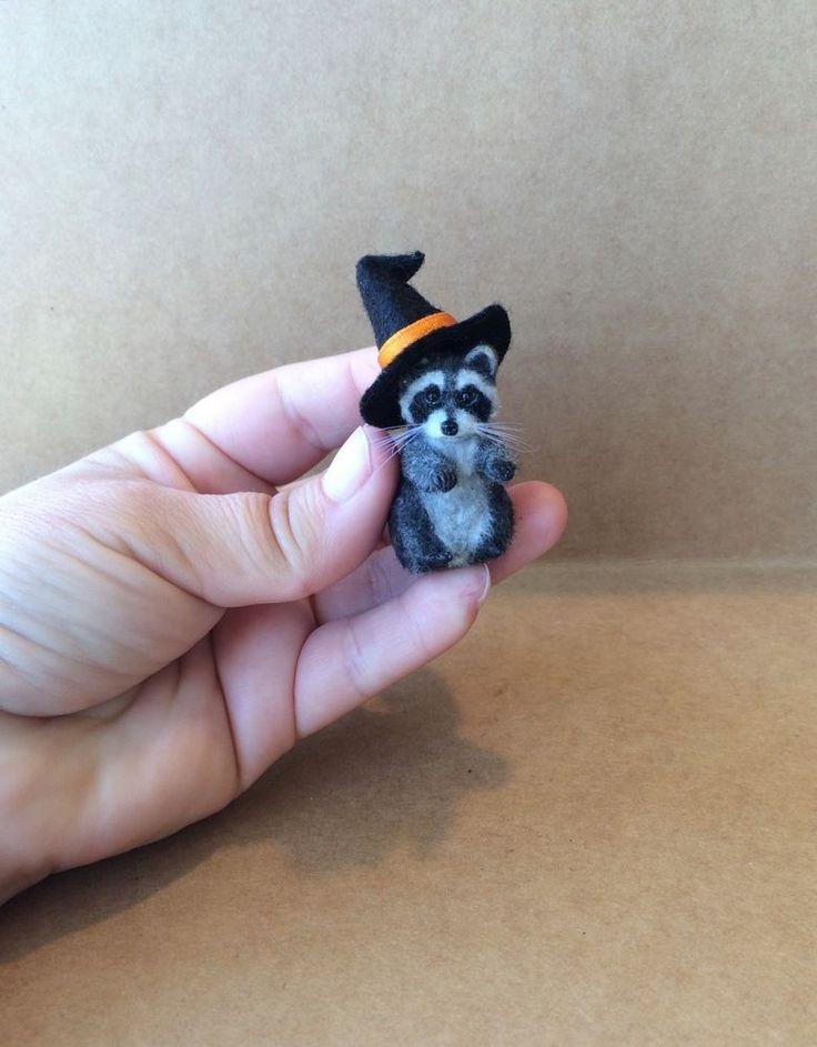 OOAK Dollhouse Miniature Pet Raccoon Hand made by Artist 1:12