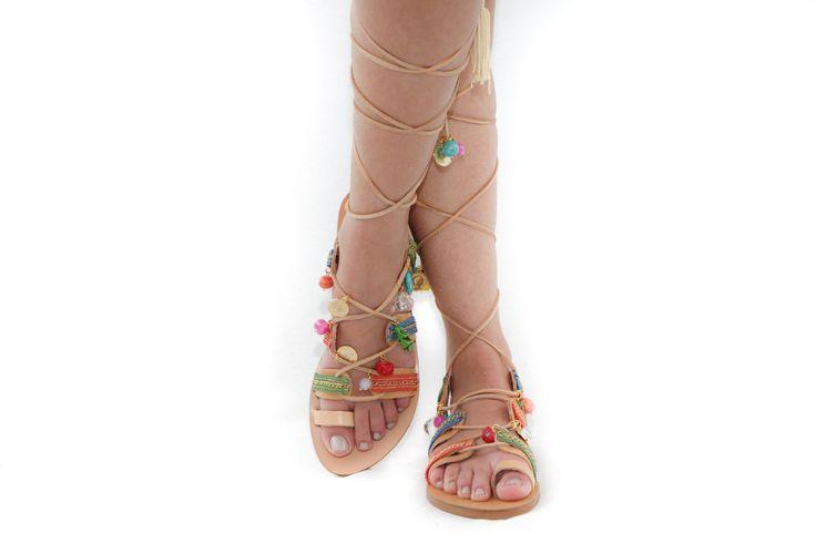 Frida lace up leather sandals by Elina Linardaki