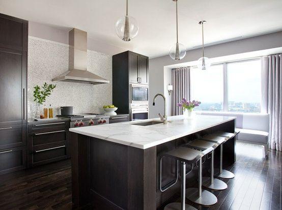 kitchen idea #3: dark floors, dark cabinets, white counter, gray