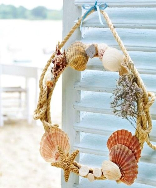 230 best images about coastal wall decor shop diy on for Seashell wreath craft ideas