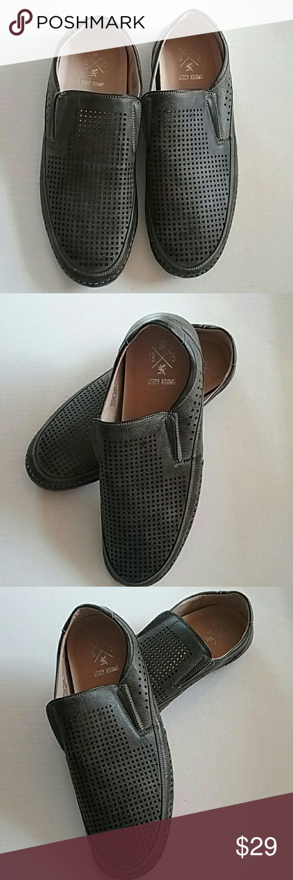 STACY ADAMS NORTHSHORE PEFORATED GRAY SLIP SHOES This is a lovely pair of Stacy Adams Northshore grey perforated slip-on shoes. Item number 24863 - 020. They are in like new condition. Please see the last picture there is a tiny bit of discoloration on one sole. They are men's size 11 M. They do not look like they have ever been worn. stacy adams Shoes Loafers & Slip-Ons