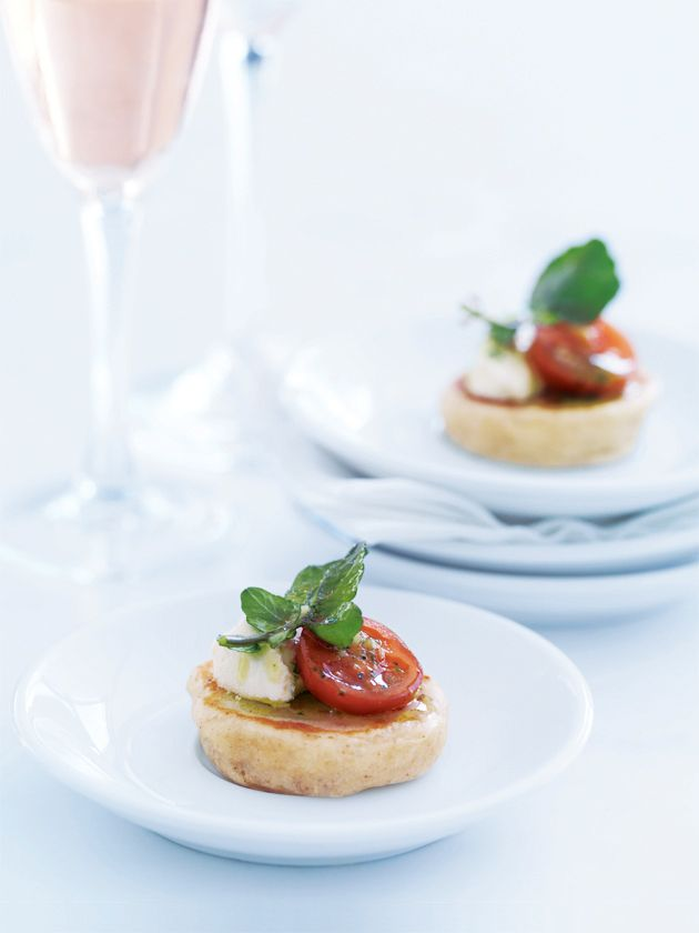 ricotta blini with marinated feta and tomato from www.donnahay.com.au