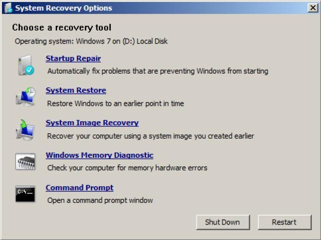 The System Recovery Options menu is a collection of repair and diagnostic tools for Windows like Startup Repair, System Restore, and more.