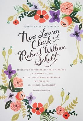 the prettiest wedding invite I've ever seen! could also work for Rach's garden party shower