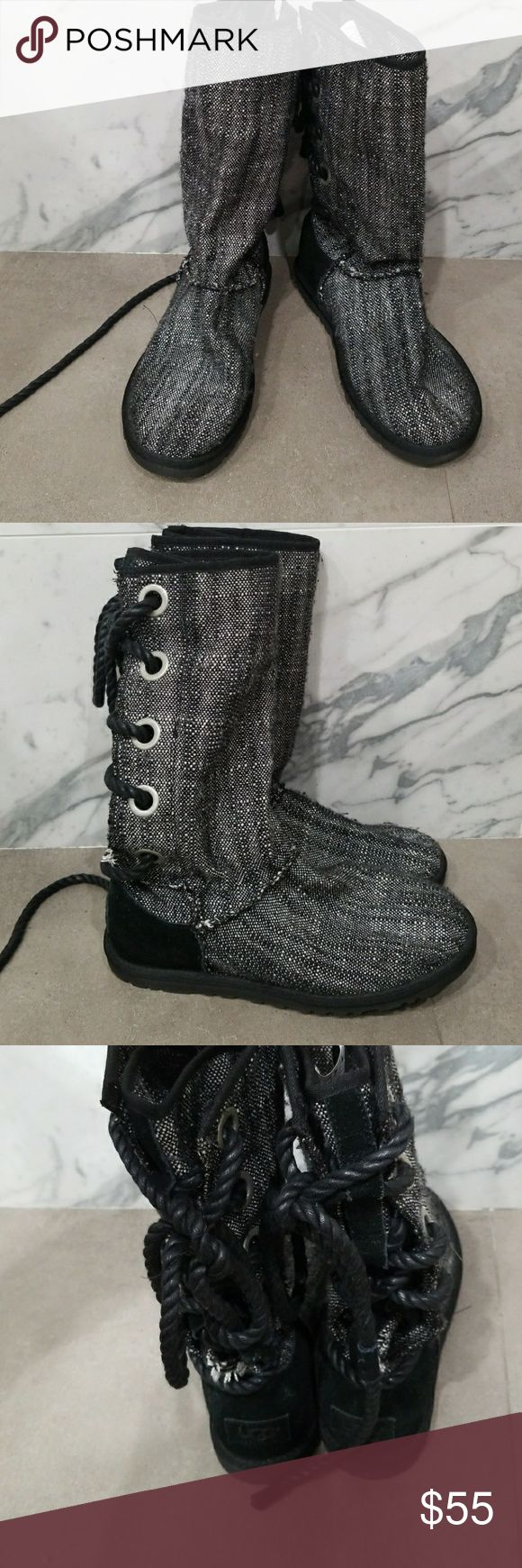 UGG lace up knit boot! Fully sheep lined once worn gorgeous knit UGGs they lace up in the back. Super rare. Small hole behind stitching on boots. See photos.  I bought them like this and did not even notice. Original ugg sticker. Super comfy and warm. Such a fun boot. UGG Shoes Winter & Rain Boots