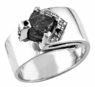 """MANGagement - Unique Canadian Rough diamond 3ct, plus black and white cut diamonds. Set in .925 Sterling silver. Say """"will you marry me"""" with this unique unisex engagement ring - can also be worn as a mens everyday ring- Real Men do wear diamonds!  ashechtm@rogers.com for more info"""