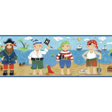 Pirates Wall Border, Black/Tan/Sand, Multicolor