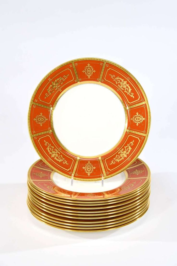 Set of 12 Minton Orange Dinner Plates with Neoclassical Raised Paste Gold 2
