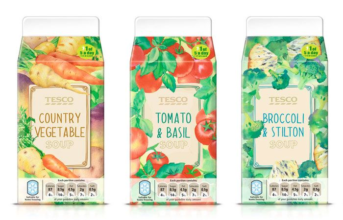 Watercolour illustrations and hand written style typography in Tesco Fresh Soup packages.