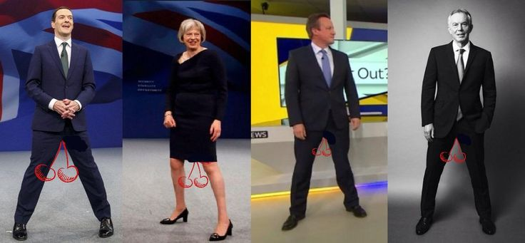 The 4 Tory Bastards are opening their legs wide and letting their balls hang low in support of their friend pretend Labour MP Ed Balls on ...