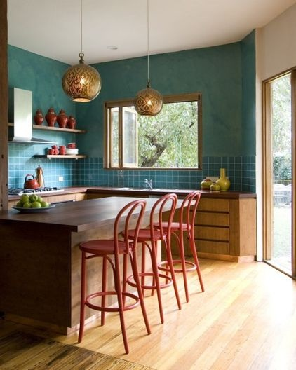 TealBarstools, Kitchens Colors, Kitchens Design, Lights Fixtures, Contemporary Kitchens, Colors Schemes, Pendants Lights, Bar Stools, Eclectic Kitchens