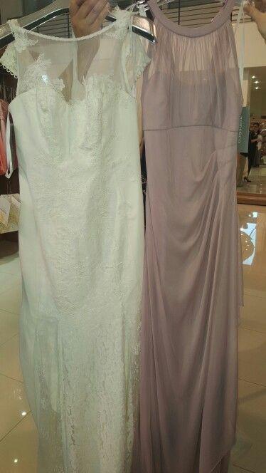 Wedding dress and bridesmaid dress