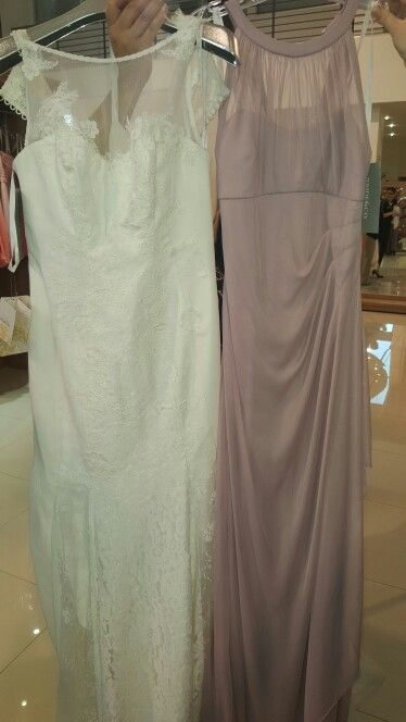 Wedding dress and bridesmaid dress