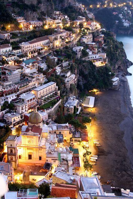A view of Positano from the roof of the Hotel Villa Franca at about 6:00 a.m. as the sun rises.