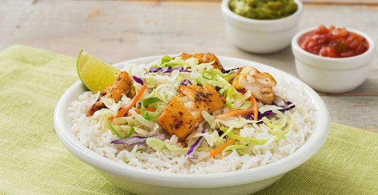 Bols de tacos au poisson avec riz au jasmin | Minute Rice