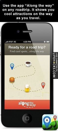Along The Way - app for any road trip that shows you cool attractions on the way as you travel | 15 Road Trip Apps