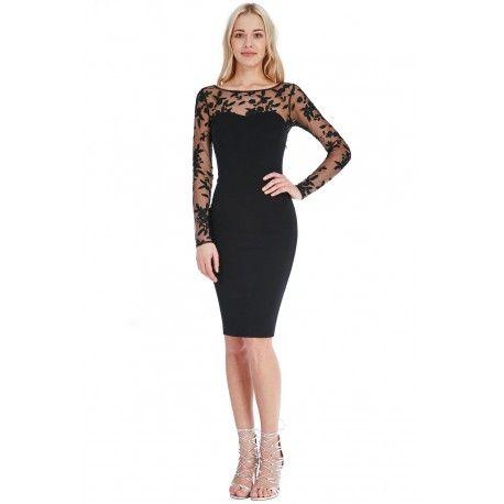 Elegancka czarna koronkowa sukienka midi z siateczką nude długi rękaw