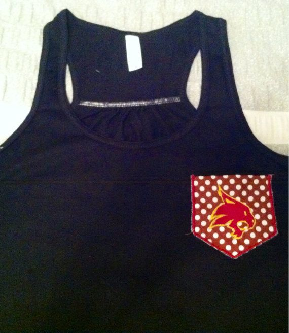 Texas state university bobcat pocket racerback tanks for Custom t shirts san marcos tx