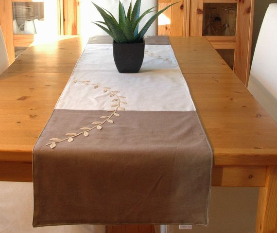 Table runner 100 linen lined with cotton 2 tones by CreationsNikki, $43.00