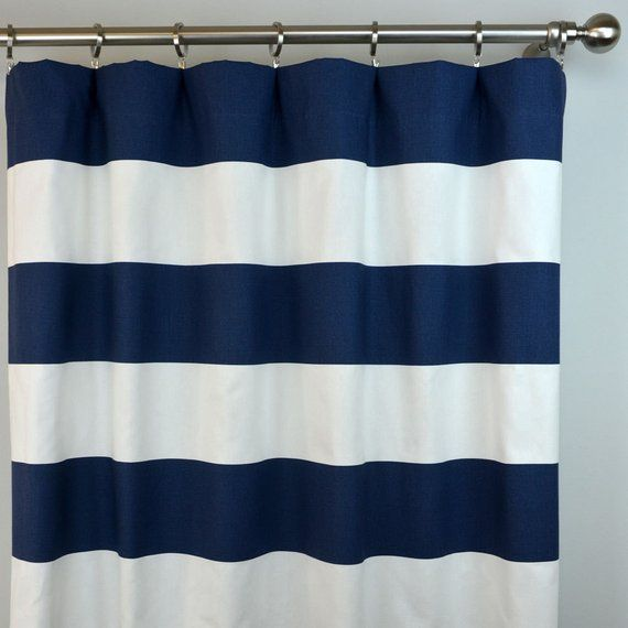 Navy Blue White Cabana Horizontal Stripe Curtains Rod Pocket 84