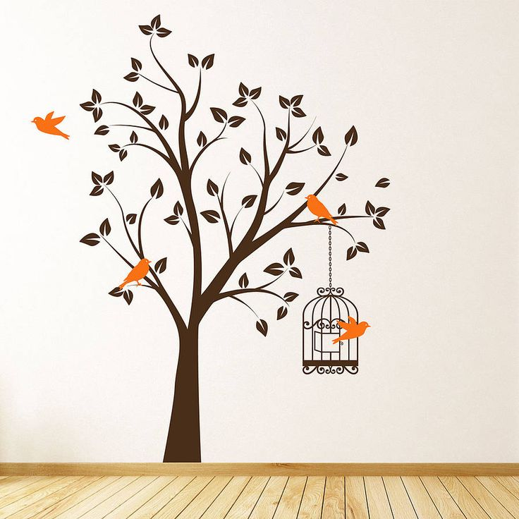 Tree With Bird Cage Wall Stickers Part 55