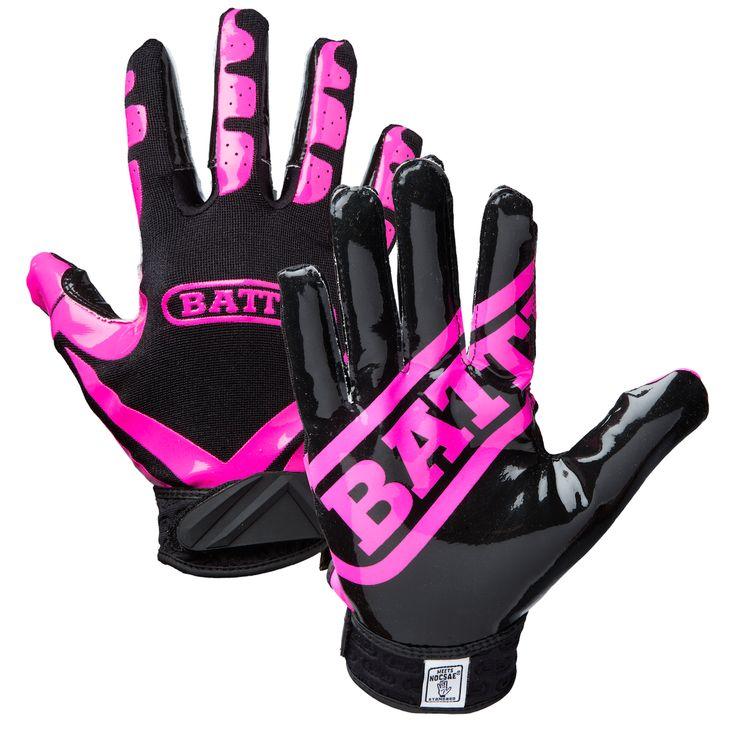Pink Football Gloves | Battle Sports Adult Receivers Football Gloves http://www.battlesportsscience.com/battle-adult-ultra-stick-receivers-gloves-neon-pink-black/